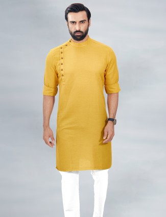 Yellow solid style cotton kurta suit for mens