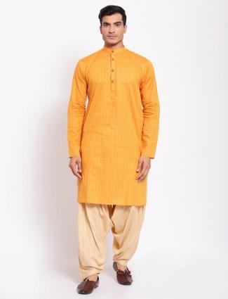Yellow solid style cotton kurta with patiala