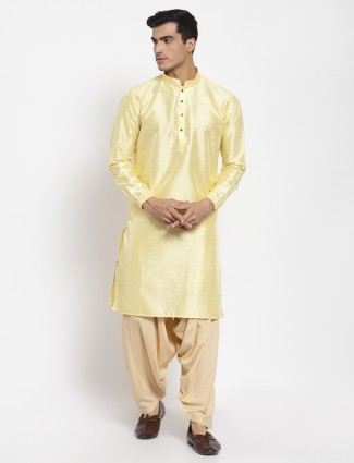Yellow solid style patiala with kurta for men