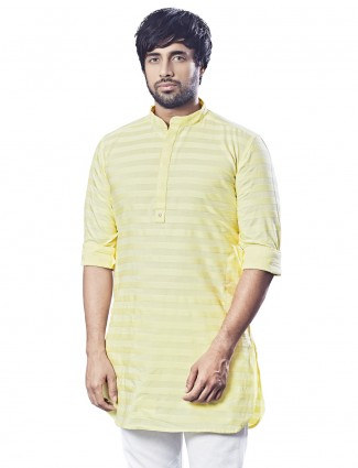 Yellow stripe cotton mens festive wear kurta