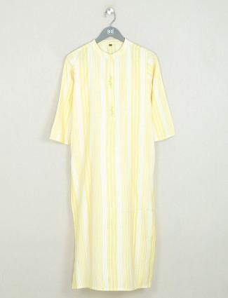 Yellow stripe style cotton casual wear kurti for women