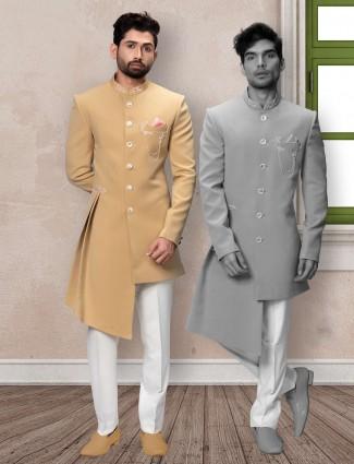 Yellow terry rayon indo western wedding wear