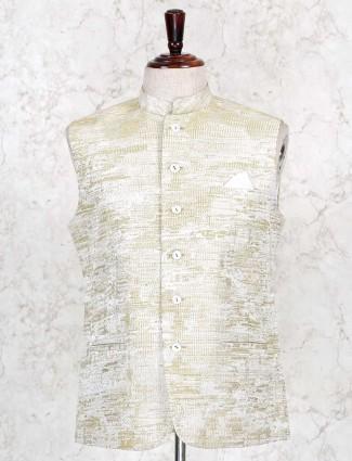 Yellow textured raw silk waistcoat