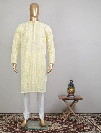 Yellow thread work cotton kurta suit for mens