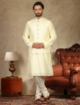Yellow thread woven raw silk waistcoat set