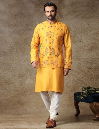 Yellow thread woven silk waistcoat set
