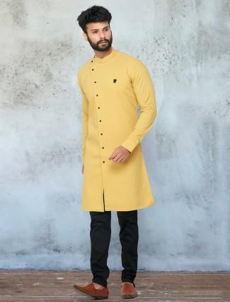 Yellow tint festive wear kurta suit in cotton