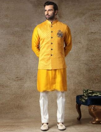 Yellow waistcoat set in silk for haldi day