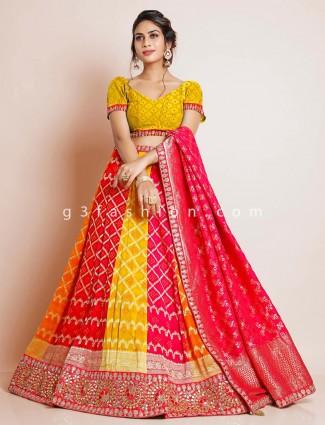 Yellow wedding lehenga with unstitched blouse