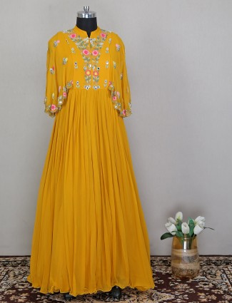 Yellow wedding occasion anarkali suit in georgette