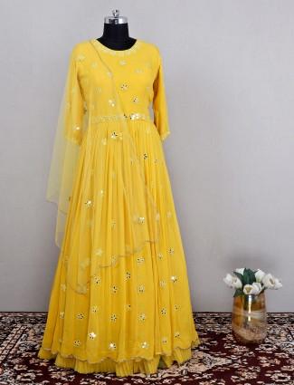 Yellow wedding occasions amazing anarkali suit