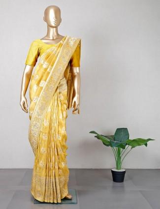 Yellow wedding occasions silk saree