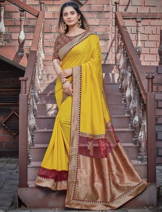 Yellow wedding occasions silk saree for beautiful lady
