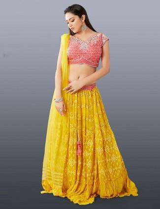 Yellow wedding wear georgette lehenga choli