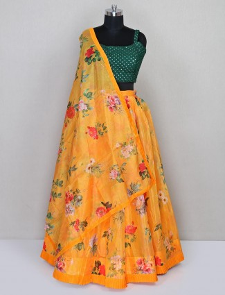 Yellow wedding wear lehenga in organza tissue
