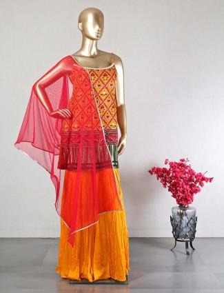 Yellow wedding wear sharara suit in silk