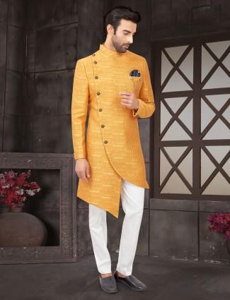Yellow wedding wear textured indo western in cotton silk