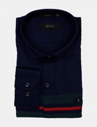 Z2000 cotton fabric navy stripe mens shirt