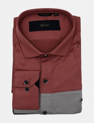 Z2000 solid grey and maroon cotton formal wear shirt