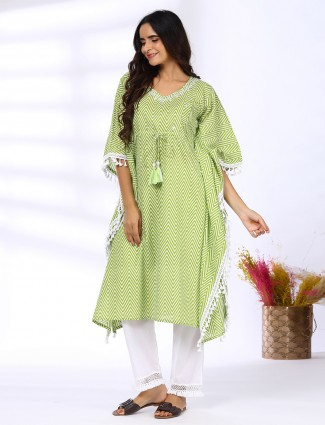 Zig zag green Festive ceremonies cotton punjabi kaftan style pant set