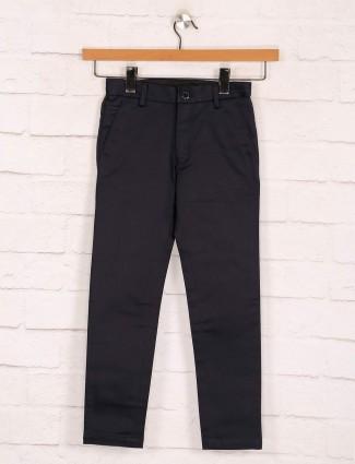 Zillian black solid cotton trouser for boys