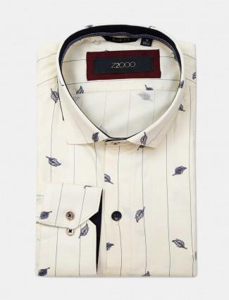 Zillian cream printed formal shirt for mens