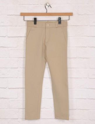 Zillian khaki solid cotton casual trouser