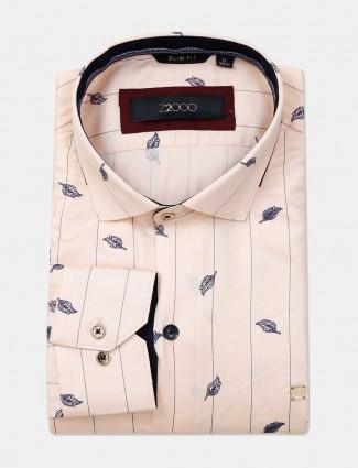 Zillian printed peach cotton formal shirt