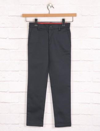 Zillian solid boys cotton black casual wear trouser
