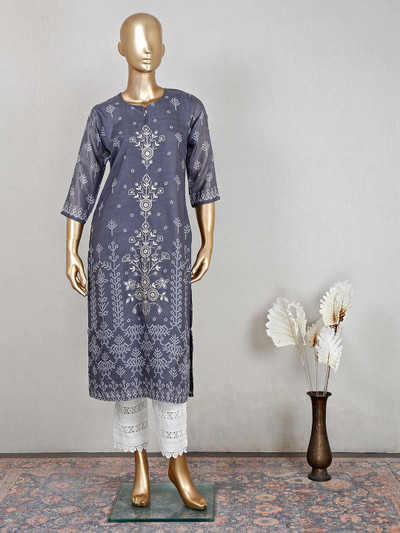 Mind blowing grey cotton pant style palazzo suit