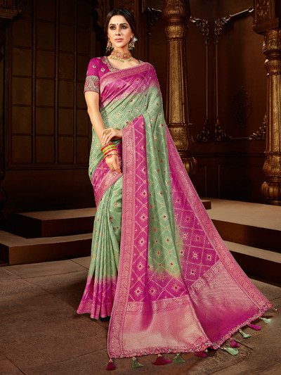 Mint green and purple dola silk saree for wedding function