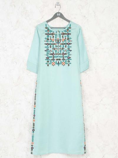 Mint green cotton kurti with thread work