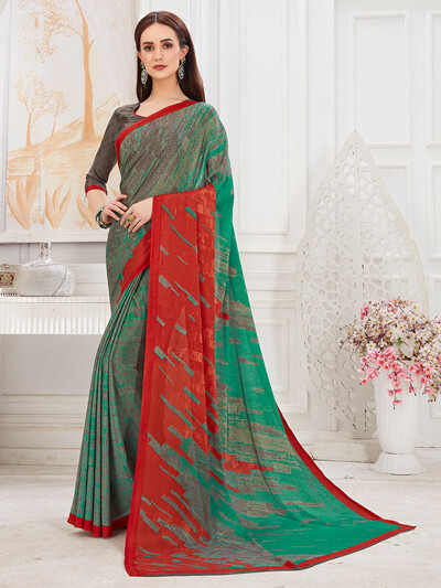 Mint green hue pretty festive saree in crepe