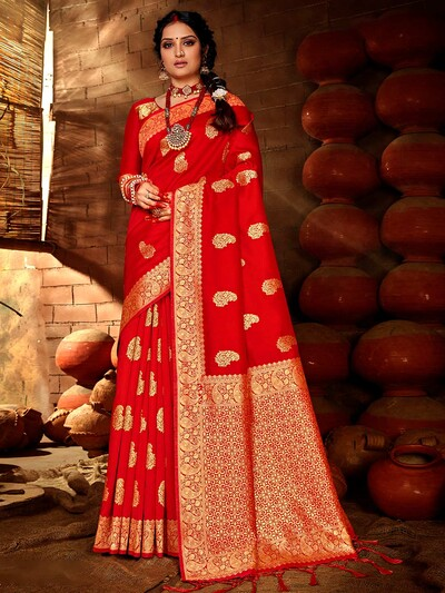 Modern red banarasi silk saree for women