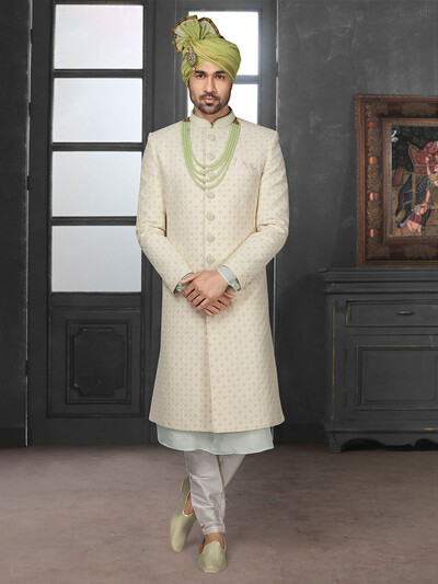 Modern silk beige lakhnavi style sherwani set