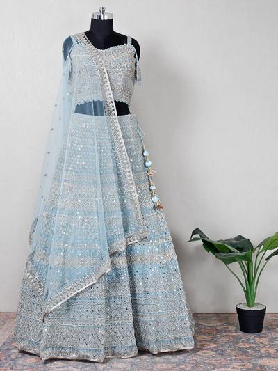 Modern style sky blue wedding wear net lehenga for women