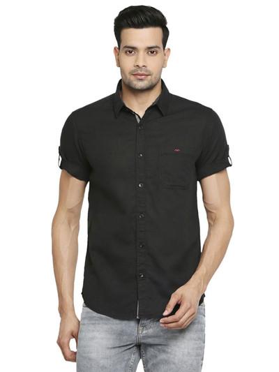 Mufti black solid cotton shirt