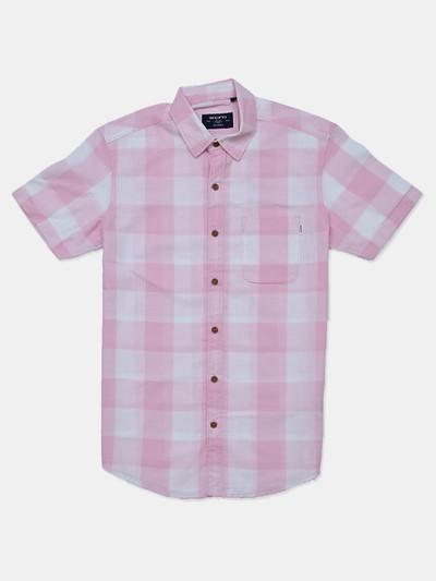 Mufti cotton pink checks slim fit shirt