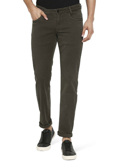 Mufti olive slim fit solid jeans