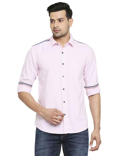 Mufti pink stripe pattern cotton shirt