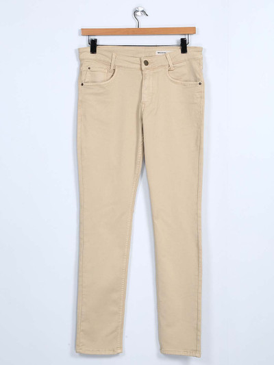 Mufti solid beige denim jeans for mens