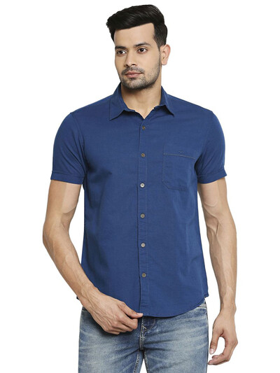 Mufti solid blue cotton mens shirt