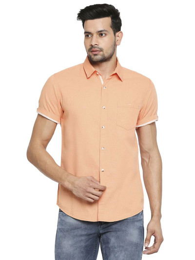 Mufti solid peach shirt for mens