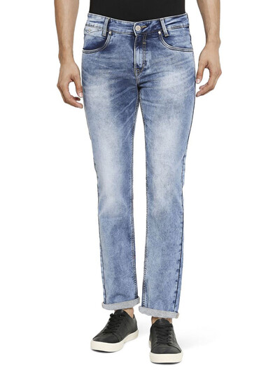 Mufti washed blue slim fit jeans