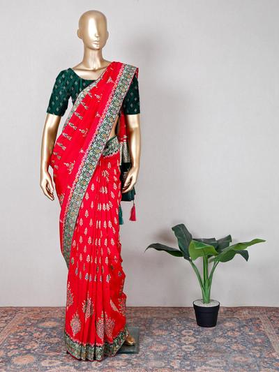 Muga silk magenta festive wear saree