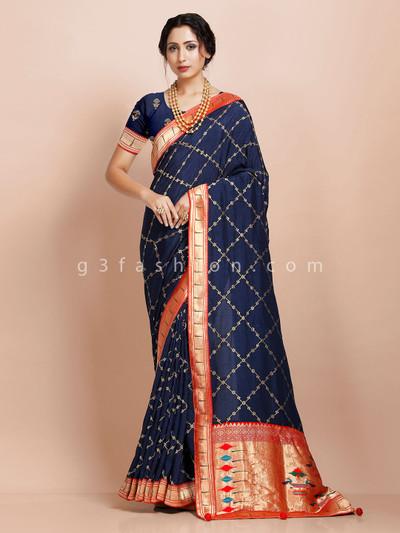 Muga silk navy wedding exclusive sari for festive