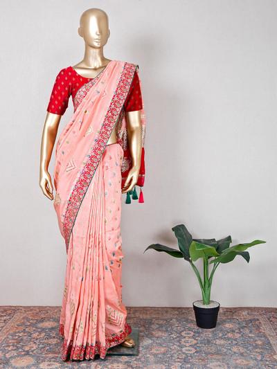 Muga silk peach festive wear saree