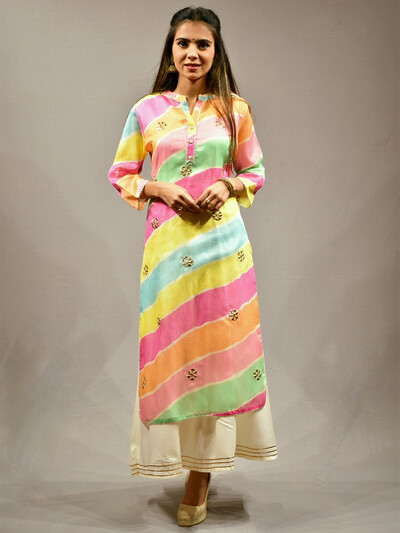 Multi color punjabi style printed festive functions cotton lehenga suit