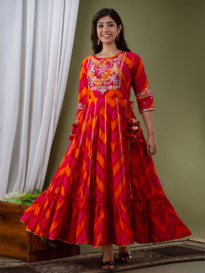 Multi cotton festive occasions zig zag kurti