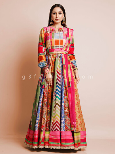 Multicolor printed cotton floor length Anarkali salwar suit